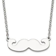 Stainless Steel Polished Mustache Necklace