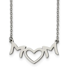 Stainless Steel Brushed and Polished MOM with Heart Necklace