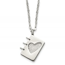 Stainless Steel Brushed and Polished Lord's Prayer Necklace