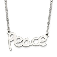 Stainless Steel Polished PEACE Necklace