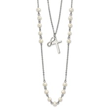 Stainless Steel w/ FWC Pearls Double Strand Infinity Cross Necklace