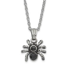 Stainless Steel Antiqued & Polished w/Crystal Spider Necklace
