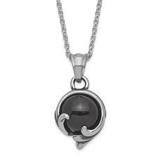 Stainless Steel Antiqued and Polished w/ Black Glass Necklace