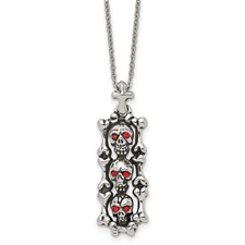 Stainless Steel Antiqued and Polished w/ Red Crystal Skull Necklace