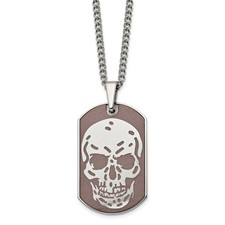 Stainless Steel Brown IP-plated Skull Dog Tag 24in Necklace