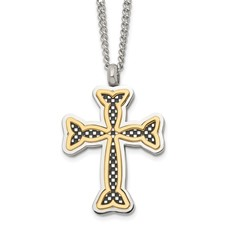 Stainless Steel Polished Black and Yellow IP-plated Cross Necklace