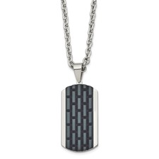 Stainless Steel Polished Black IP-plated Dog Tag Necklace