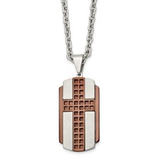Stainless Steel Brushed & Polished Brown IP-plated Cross Necklace