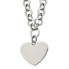 Stainless Steel Polished Large Heart w/1.75in ext. Necklace