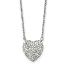 Stainless Steel Polished w/ Preciosa Crystal Heart w/2 inch ext Necklace