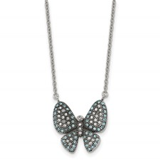 Stainless Steel Polished w/ Preciosa Crystal Butterfly w/2 inch ext Necklac