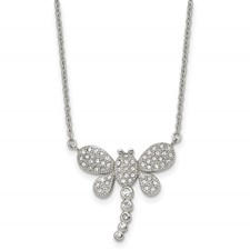 Stainless Steel Polished w/ Preciosa Crystal Dragonfly w/2 inch ext Necklac