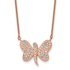 Stainless Steel Rose IP-plated w/Preciosa Crystal Butterfly w/2 inch Neckla