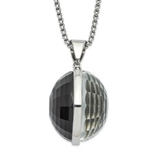 Stainless Steel Polished Grey & Clear Glass Round Pendant Necklace