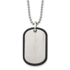 Stainless Steel Brushed Black IP Edged Dogtag Necklace
