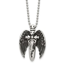 Stainless Steel Polished w/Brushed Back Antiqued Winged Sword Necklace