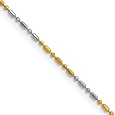 Chisel White and Yellow Rhodium over Brass 1.20mm 2 color plated Fancy Chain