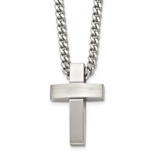 Stainless Steel Brushed and Polished Cross Necklace