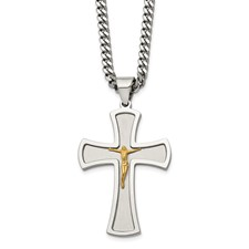 Stainless Steel Brushed & Polished Yellow IP-plated Crucifix Necklace