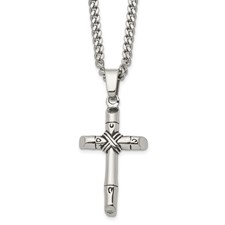 Stainless Steel Polished/Antiqued Cross Necklace