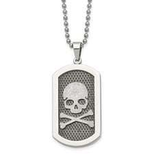 Stainless Steel Polished and Brushed Laser Cut Skull & Bones 24in Necklace