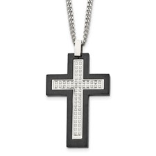 Stainless Steel Brushed and Polished Black IP CZ Cross Necklace