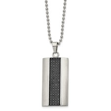 Stainless Steel Brushed Black Rhodium Black Diamond Rectangle Necklace