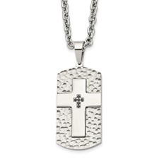 Stainless Steel Polished/Satin Hammered Blk CZ Cross Dogtag Necklace
