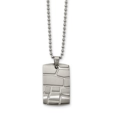 Stainless Steel Brushed and Polished Patterned Dogtag Necklace