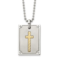 Stainless Steel w/18k Matte and Polished Diamond Square Necklace