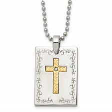Stainless Steel w/18k Polished Laser Etched Square Cross Diamond Necklace