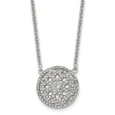 Stainless Steel Polished CZ 2mm Necklace