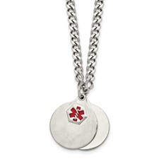 Stainless Steel Brushed 2 piece Medical Pendant Necklace