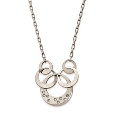 Stainless Steel Polished CZ Circle Necklace