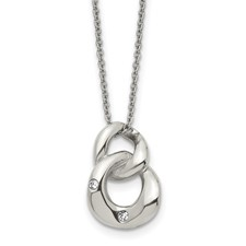 Stainless Steel Polished Two Loop 2 CZ Necklace