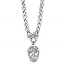 Stainless Steel Polished Crystal Skull Necklace