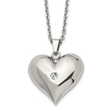 Stainless Steel Polished w/ Crystal Heart Necklace