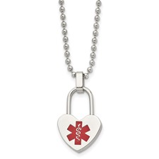Stainless Steel Small Heart Medical Pendant Necklace