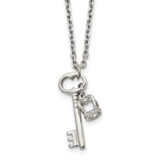 Stainless Steel Polished Key and Crown Pendant w/2 inch extension Necklace