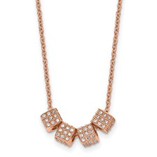 Stainless Steel Rose IP-plated with CZ w/ 2in ext. Necklace