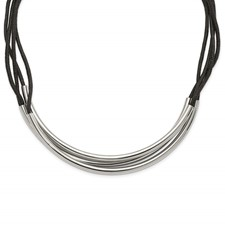 Stainless Steel Polished 3 Steel Tube w/ Black Wax Cord Necklace