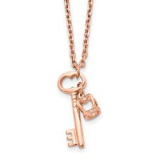 Stainless Steel Polished Rose IP Key & Crown w/2 in ext Necklace