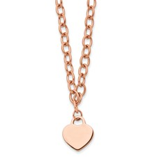 Stainless Steel Polished Rose IP-Plated w/.5in ext. Heart Necklace