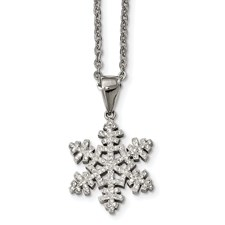 Stainless Steel Polished Crystal Snowflake Necklace