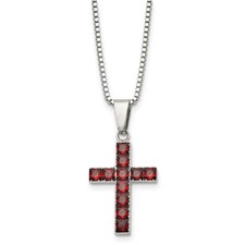 Stainless Steel Polished Red Square CZ Cross Necklace