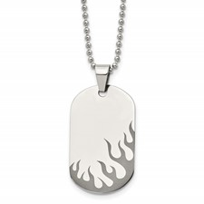 Stainless Steel Polished Black IP-plated Flames Dog Tag Necklace
