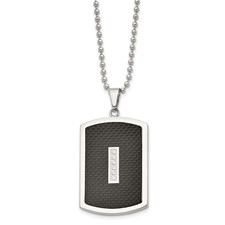 Stainless Steel Polished w/ CZ and Black Carbon Fiber Inlay Necklace