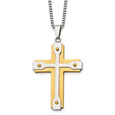 Stainless Steel Brushed and Polished Yellow IP-plated Cross Necklace