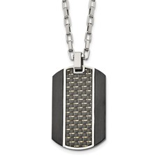 Stainless Steel Brushed & Polished Black IP Carbon Fiber Inlay Necklace
