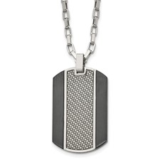 Stainless Steel Brushed & Polished Black IP Grey CarbonFiber Inlay Necklace